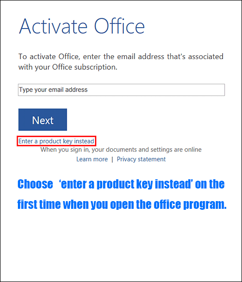 office pro plus 2013 online activation step 2
