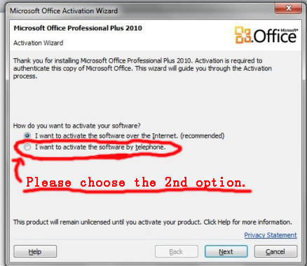 activate office professional plus 2010 by phone