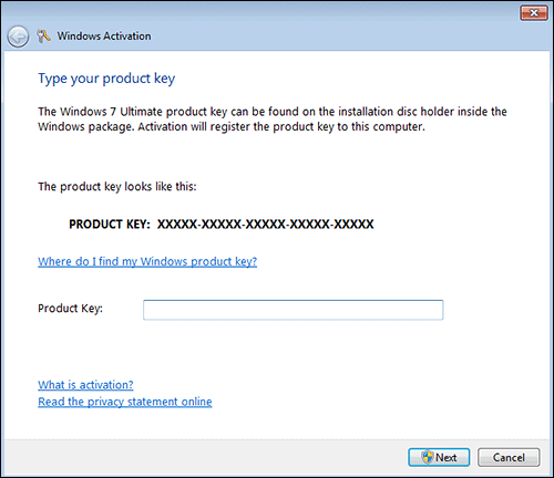 windows 7 online activation step 1